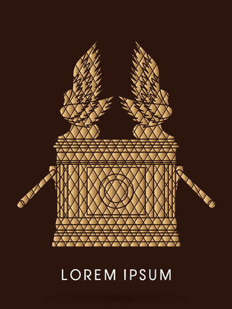 tabernacle: Ark of the Covenant. Designed using Gold square pattern graphic vector.