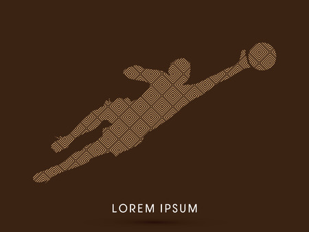 Goalkeeper catches the ball, designed using line square pattern graphic vector. Illustration