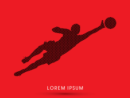 goalkeeper: Goalkeeper catches the ball, designed using hexagons pattern graphic vector.