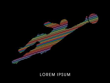 El portero coge el balón, diseñado utilizando colorido línea en zigzag de gráficos vectoriales.