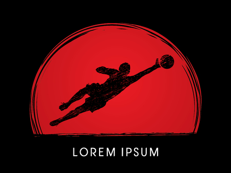 sportive: Goalkeeper catches the ball, designed using grunge brush on sunset background graphic vector. Illustration