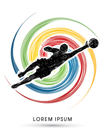 Goalkeeper catches the ball, designed using grunge brush on spin background graphic vector. Illustration