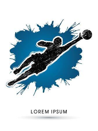 Goalkeeper catches the ball, designed using grunge brush on ink splash background graphic vector. Vettoriali