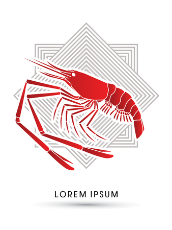 macrobrachium: Giant freshwater prawn, shrimp, designed using red color on line square graphic vector.