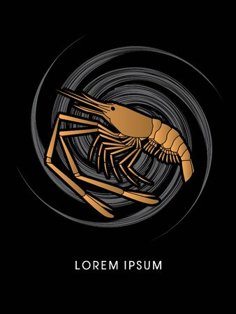 prawn: Giant freshwater prawn, shrimp, designed using gold color on spin cycle graphic vector.