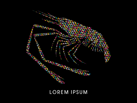 rosenbergii: Giant freshwater prawn, shrimp, designed using colorful triangle mosaic graphic vector.