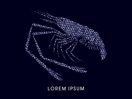 rosenbergii: Giant freshwater prawn, shrimp, designed using blue triangles mosaic graphic vector.