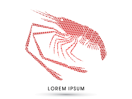 prawn: Giant freshwater prawn, shrimp, designed using line triangle graphic vector. Illustration