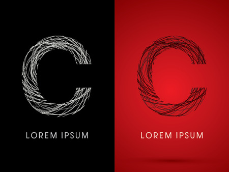 silk wool: C Font design using confuse line graphic vector. Illustration