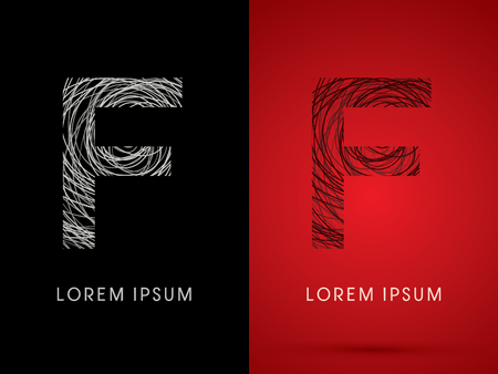 F Font design using confuse line graphic vector.