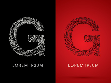 g string: G Font design using confuse line graphic vector.