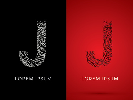 silk wool: J Font design using confuse line graphic vector.