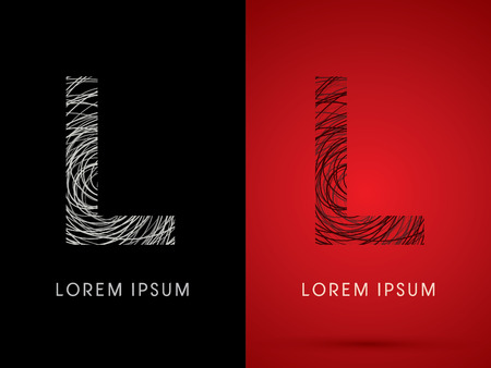 silk wool: L Font design using confuse line graphic vector.
