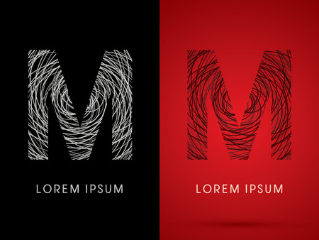 silk wool: M Font design using confuse line graphic vector.