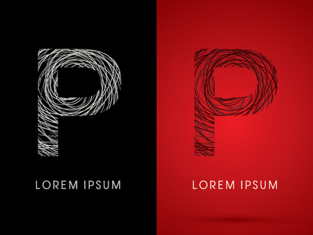 P Font design using confuse line graphic vector.