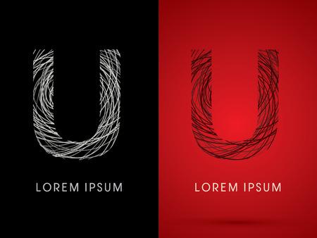 U Font design using confuse line graphic vector. Ilustração