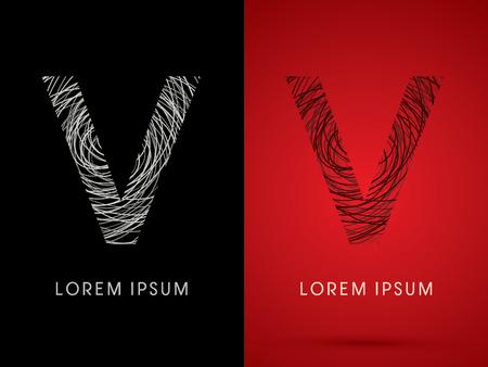 V Font design using confuse line graphic vector. 向量圖像