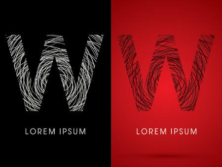 perplex: W Font design using confuse line graphic vector. Illustration