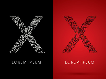 confuse: X Font design using confuse line graphic vector.