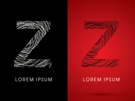 Z Font design using confuse line graphic vector.