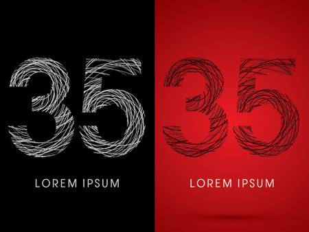 perplex: 35 Number Font design using confuse line graphic vector.