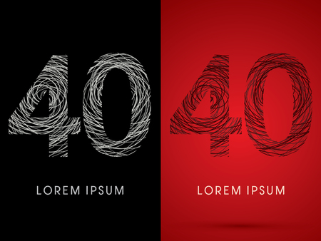 silk wool: 40 Number Font design using confuse line graphic vector.