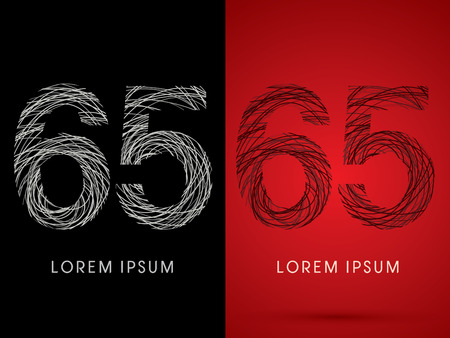 tense: 65 Number Font design using confuse line graphic vector.
