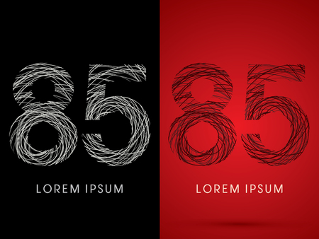 silk wool: 85 Number Font design using confuse line graphic vector. Illustration