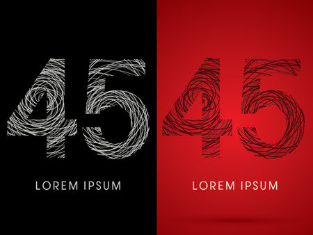 perplex: 45 Number Font design using confuse line graphic vector. Illustration
