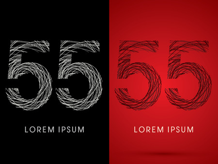 silk wool: 55 Number Font design using confuse line graphic vector.