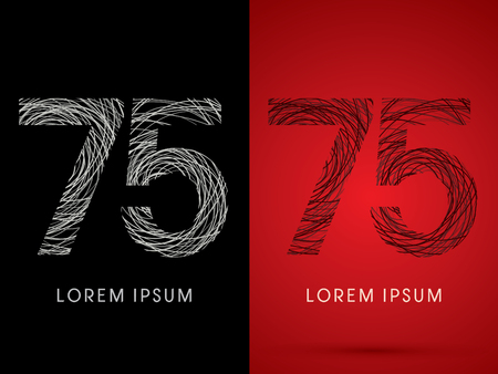silk wool: 75 Number Font design using confuse line graphic vector. Illustration
