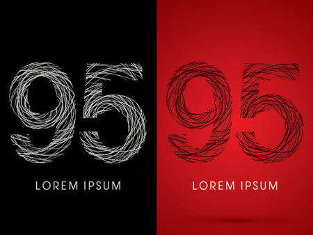 perplex: 95 Number Font design using confuse line graphic vector. Illustration