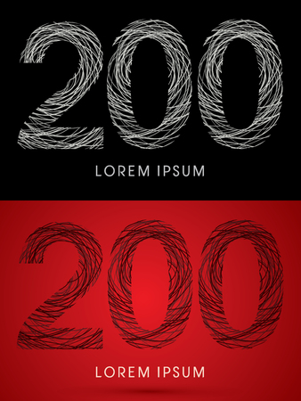 perplex: 200 Number Font design using confuse line graphic vector. Illustration