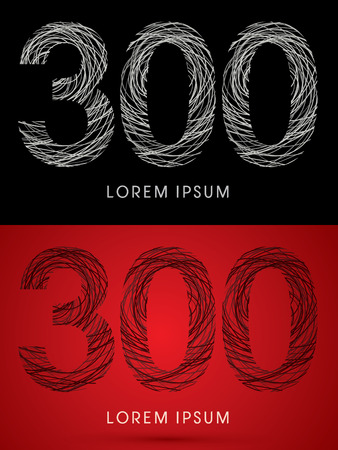 perplex: 300 Number Font design using confuse line graphic vector. Illustration