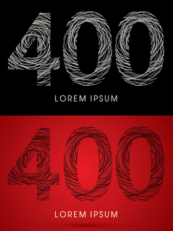 perplex: 400 Number Font design using confuse line graphic vector.