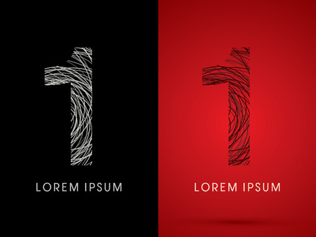 1 Number Font design using confuse line graphic vector.