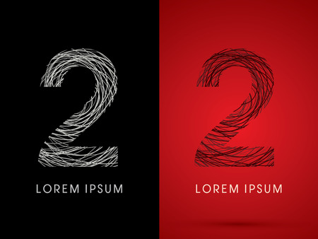 silk wool: 2 Number Font design using confuse line graphic vector. Illustration