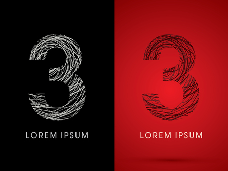 silk wool: 3 Number Font design using confuse line graphic vector. Illustration