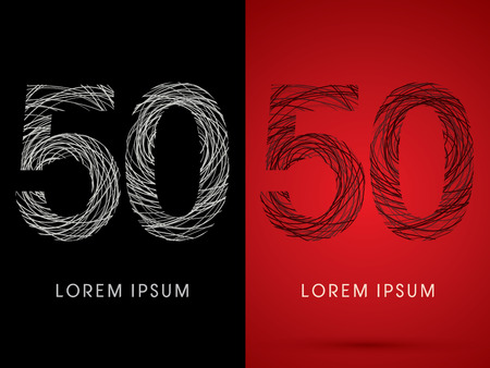 silk wool: 50  Number Font design using confuse line graphic vector.
