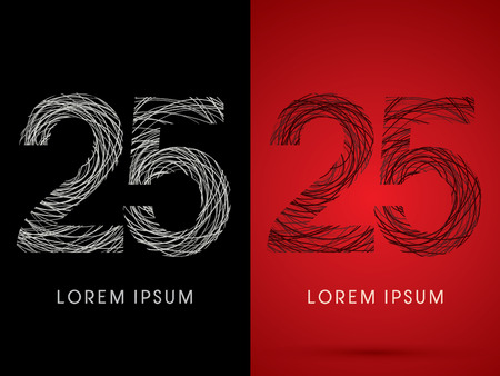 silk wool: 25  Number Font design using confuse line graphic vector.