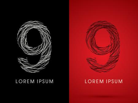spiral cord: 9  Number Font design using confuse line graphic vector. Illustration
