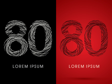 silk wool: 80  Number Font design using confuse line graphic vector.