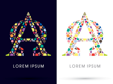 Alpha and Omega ,Colorful font, designed using colorful dot graphic vector.