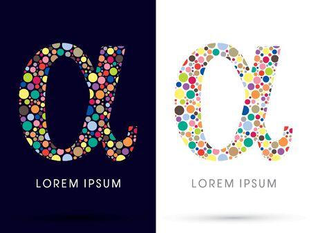 alpha: Alpha ,Colorful font, designed using colorful dot graphic vector. Illustration