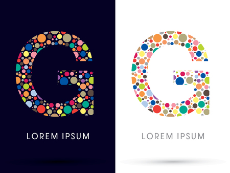 g spot: G ,Colorful font, designed using colorful dot graphic vector.