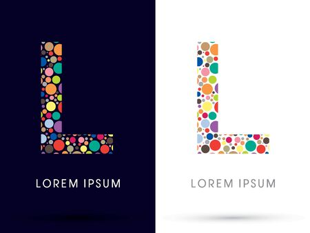 l: L ,Colorful font, designed using colorful dot graphic vector.