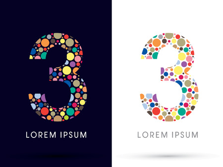 3 ,Colorful font, designed using colorful dot graphic vector.
