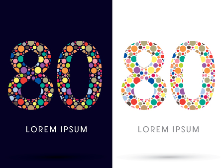 v cycle: 80 ,Colorful font, designed using colorful dot graphic vector.