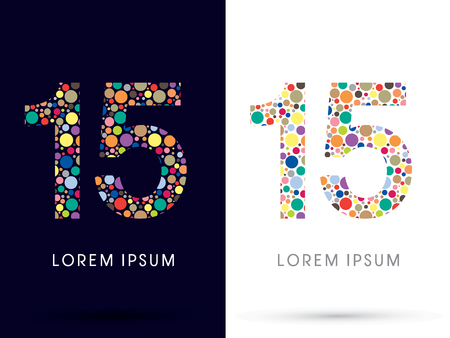 v cycle: 15 ,Colorful font, designed using colorful dot graphic vector.