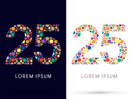 v cycle: 25 ,Colorful font, designed using colorful dot graphic vector.